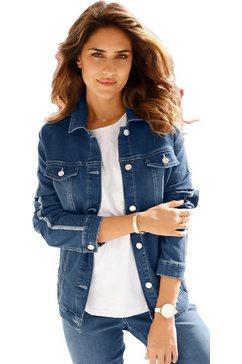 classic basics jeansjack met zilverkleurige glanzende strepen blauw