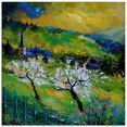 artland print op glas voorjaar in mogimont (1 stuk) groen