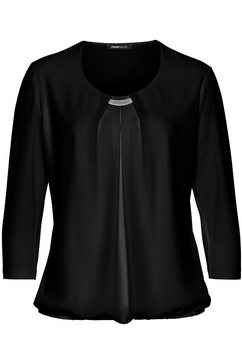 frank walder shirt met zilverkleurig detail bij de hals zwart