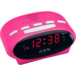 lenco wekkerradio »ices icr-210 roze
