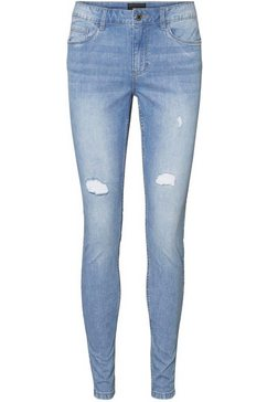 vero moda skinny fit jeans »vmseven shape up destroyed« blauw
