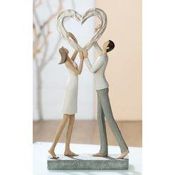gilde decoratief figuur sculptuur liefdespaar hart triomf decoratief object, hoogte 31 cm, met de hand beschilderd, met hart, romantisch, woonkamer (1 stuk) wit