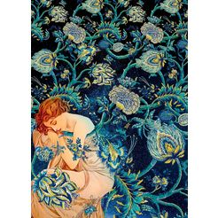 komar vliesbehang »femme d'or« blauw