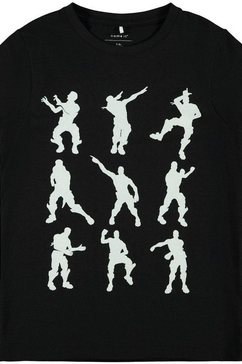 name it t-shirt »dance move fortnite« zwart