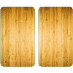 wenko kookplaatdeksel universeel, hout-look (set, 2-delig) beige