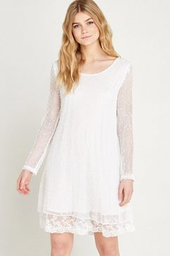 apricot zomerjurk »sequin popcorn lace layer dress« wit