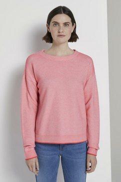 tom tailor gebreide trui »zweifarbiger strukturierter pullover« roze