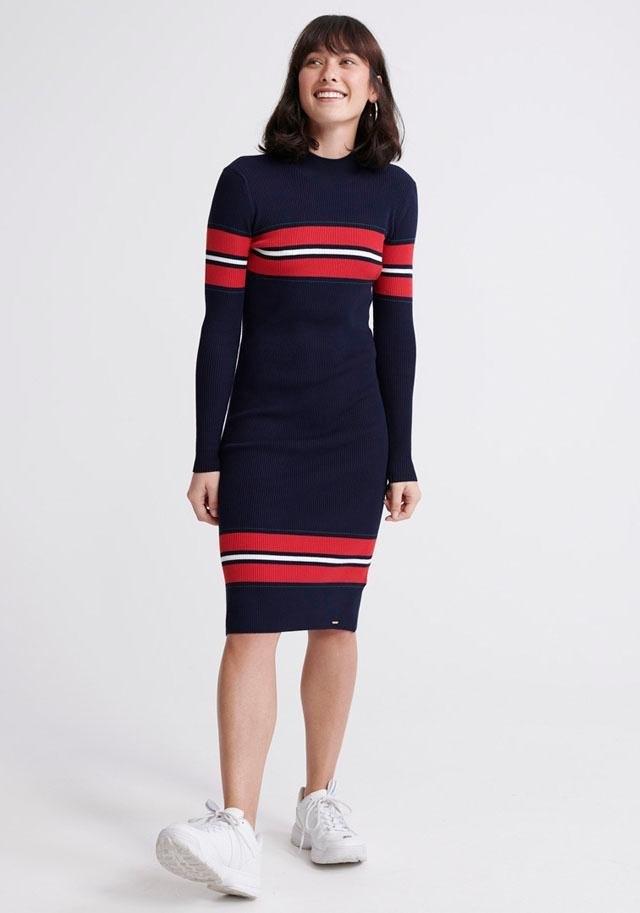 Superdry tricotjurk »HALLIE RIBBED BODYCON DRESS« in de webshop van OTTO kopen