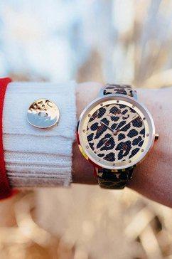 julie julsen kwartshorloge »safari leopard, jjw1203rgl-l« bruin