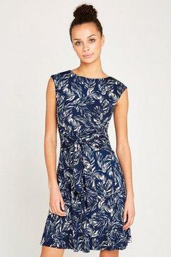 apricot gedessineerde jurk »feather leaf print tie front dress« blauw
