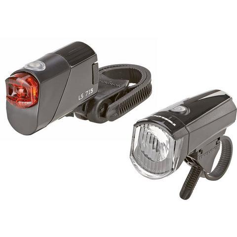 Prophete fietsverlichting LED-batterijlampjes-Set 15 Lux (2-delig, koplamp en achterlicht)
