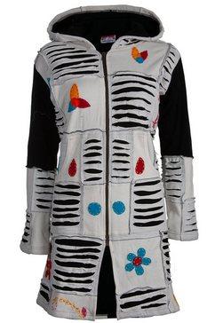 deproc active gebreide jas »patchwork mantel multicolor flower power light gray mit kapuze« grijs