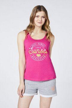 "oklahoma jeans tanktop »mit ""sunset"" frontprint« roze"