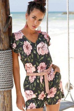 s.oliver red label beachwear korte jumpsuit met lage ruglijn multicolor