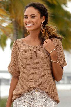 lascana trui met korte mouwen bruin