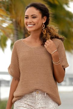 lascana trui met korte mouwen in luchtig ajourbreisel bruin