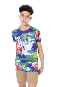 hype t-shirt »jungen hola mit hawaii-tarnmuster, kurzaermlig« blauw