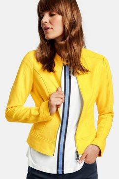 taifun gevoerde blazer met lange mouwen »blazerjacke in velours-optik« geel