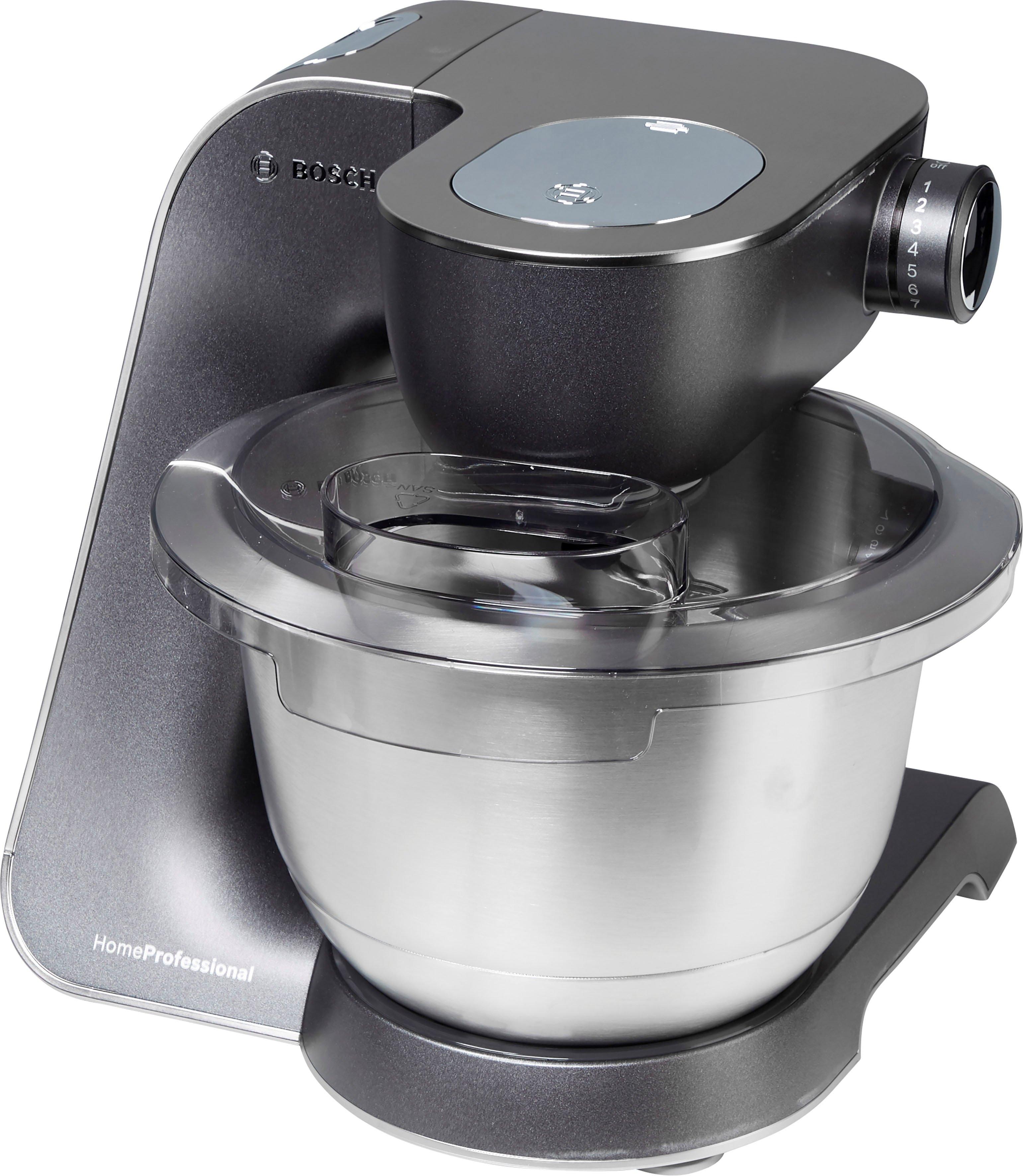 BOSCH keukenmachine MUM5, HomeProfessional MUM57860 veelzijdig te gebruiken, continu rasp- en snijapparaat, 3 raspschijven, citruspers, vleesmolen, mixer, edelstaal/zilver voordelig en veilig online kopen
