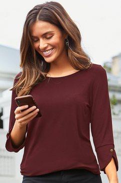 vivance shirt met 3-4-mouwen met modieuze manchetten en goudkleurige knopen rood