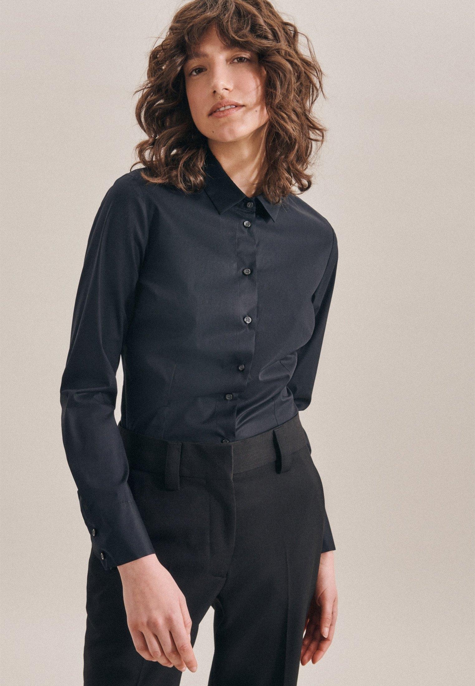 seidensticker klassieke blouse Zwarte roos Lange mouwen kraag uni online kopen op otto.nl