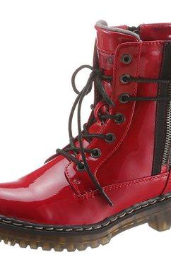 mustang shoes hoge veterschoenen met contrastkleurige sierrits rood