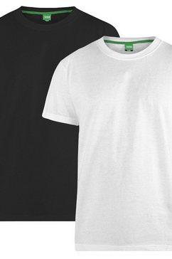 duke clothing t-shirt »herren fenton d555, kingsize, rundhalsausschnitt, 2er-packung« zwart