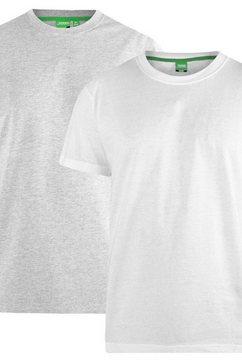 duke clothing t-shirt »herren fenton d555, kingsize, rundhalsausschnitt, 2er-packung« grijs