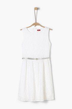 s.oliver junior cold-shoulder jurk met motief voor meisjes wit
