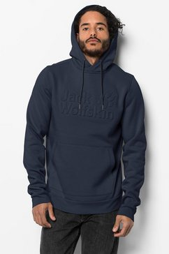 jack wolfskin hoodie »logo hoody m« blauw