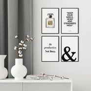 artprint »modisch - premium poster 4er set« wit