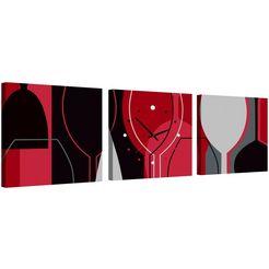 conni oberkircher´s wanddecoratie »wine glass« rood