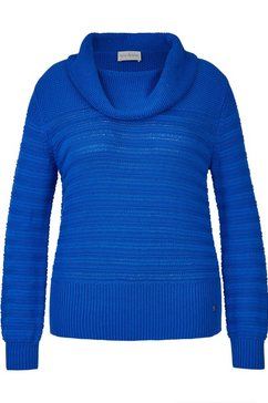 via appia behaaglijk zachte trui met structuurmotief plus size blauw