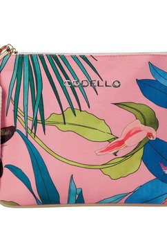 codello canvas-toilettas met tropical-print roze