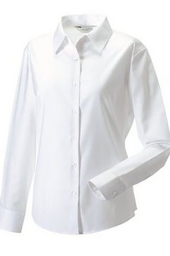 russell blouse met lange mouwen »collection easy care oxford bluse, langarm« wit