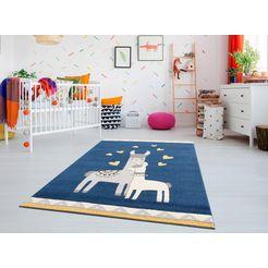 luettenhuett vloerkleed voor de kinderkamer »lamas« blauw