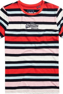 superdry t-shirt »vl micro stripe entry tee« blauw