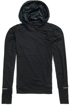 superdry sport trainingstrui met capuchon »running mid layer kapuzenjacke« zwart