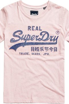 superdry t-shirt »vl glitter emboss entry tee« roze
