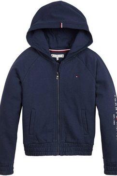 tommy hilfiger capuchonsweatvest essential zip through hoodie met elastiek bij de boorden blauw