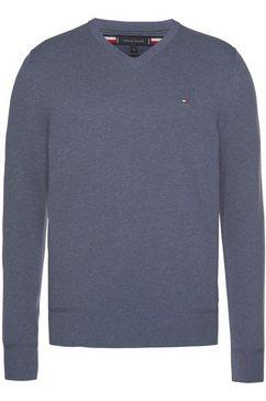 tommy hilfiger trui met v-hals »organic cotton silk v neck« blauw