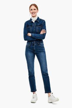 s.oliver denim jumpsuit met satijnen bindceintuur blauw