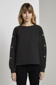 tom tailor denim sweatshirt »sweatshirt mit knoepfen« zwart