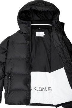 calvin klein gewatteerde jas »hooded puffer jacket« schwarz