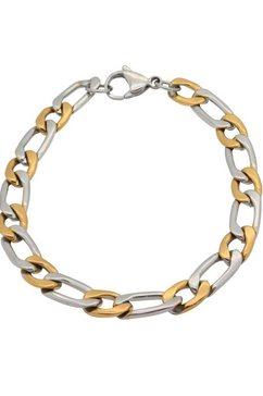 firetti edelstalen armband »in panzer-und figarokettengliederung, 7,47 mm breit, glaenzend, bicolor-design« goud