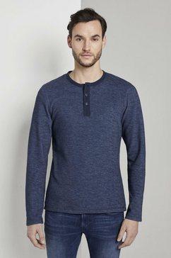 tom tailor t-shirt »weiches henley-langarmshirt« blauw