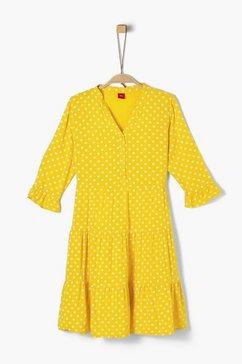 s.oliver junior cold-shoulder jurk met motief voor meisjes geel