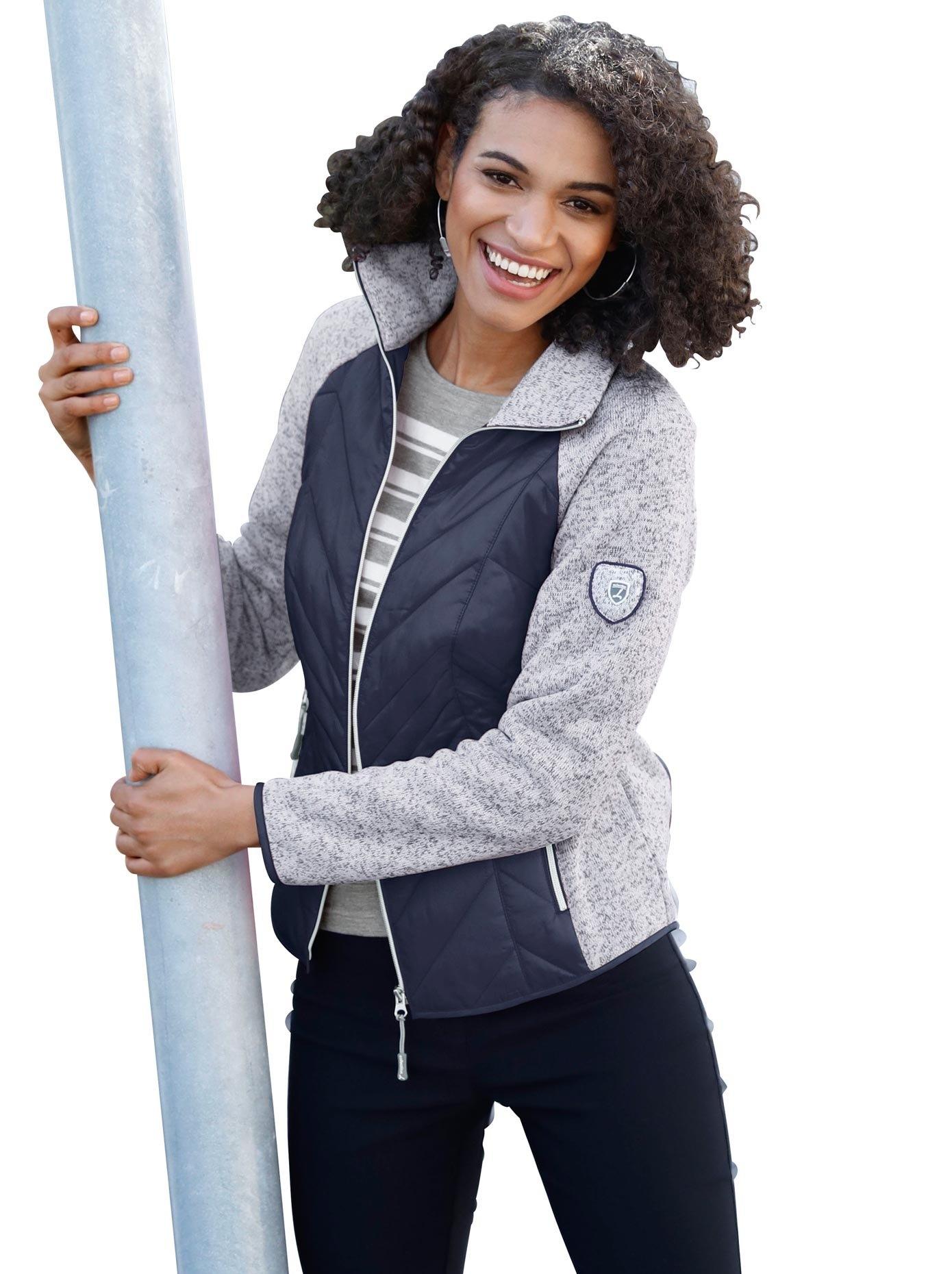 Casual Looks jas met contrastkleurige inzetten in stikselmotief nu online bestellen