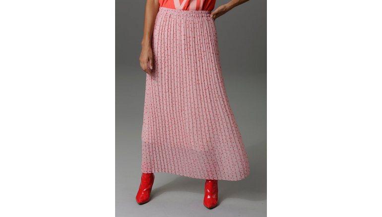 Aniston CASUAL plissérok met stippen gedessineerd