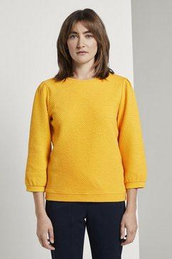 tom tailor sweatshirt »strukturiertes sweatshirt mit ballonaermeln« geel
